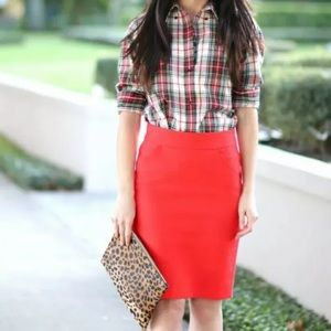 J. Crew Double-Serge Pencil Skirt in Coral